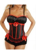 Ruby Ladies Lingerie Comfortable Bow Pleated Corset with Straps