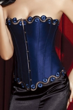 Blue Pretty Ladies Embroidery Nylon Lingerie Over Bust Corset