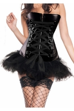 Black Chic Womens Lace Up Lingerie Skirt Zip Over Bust Corset