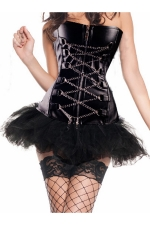 Black Chic Womens Chain Lace Up Lingerie Skirt Over Bust Corset