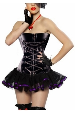 Purple Chic Womens Chain Lace Up Lingerie Skirt Over Bust Corset