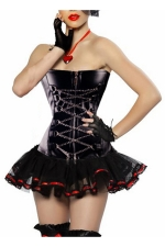 Red Chic Womens Chain Lace Up Lingerie Skirt Over Bust Corset