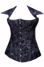 Black Ladies Halter Floral Lace Up Lingerie Corset with Straps
