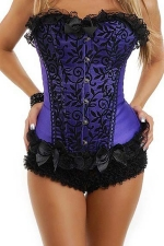 Purple Stylish Ladies Lace Lingerie Floral Over Bust Corset