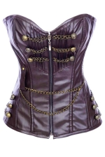 Brown Stylish Ladies Chain Zip Lingerie Lace Up Over Bust Corset