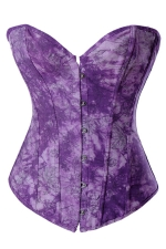 Purple Ladies Flower Printed Lingerie Lace Up Over Bust Corset