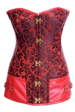 Red Womens Flower Printed Lace Up Lingerie Over Bust Corset