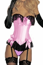 Pink Sexy Ladies Color Block Bow Lace Lingerie Over Bust Corset