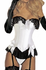 White Sexy Ladies Color Block Bow Lace Lingerie Over Bust Corset