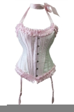 Pink Lingerie Pleated Halter Steel Bone Corset with Straps