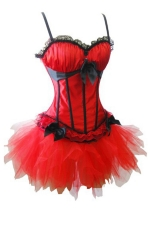 Red Womens Bow Pleated Dress Lingerie Lace Corset with Straps