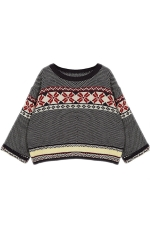 Black Loose Womens Batwing Sleeves Christmas Pullover Sweater