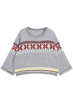 Gray Loose Womens Batwing Sleeves Christmas Pullover Sweater