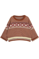 Khaki Loose Womens Batwing Sleeves Christmas Pullover Sweater