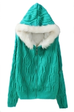Green Fur Hooded Knitted Plain Mohair Lined Warm Sweater Coat