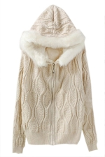 White Fur Hooded Knitted Plain Mohair Lined Warm Sweater Coat
