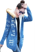 Blue Fur Hooded Lined Long Cardigan Letter Printed Sweater Coat