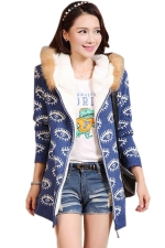 Blue Womens Eye Printed Fur Hooded Thick Winter Sweater Coat