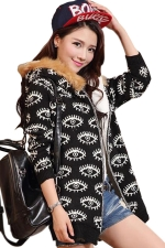 Black Womens Eye Printed Fur Hooded Thick Winter Sweater Coat