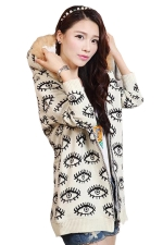 Beige Womens Eye Printed Fur Hooded Thick Winter Sweater Coat