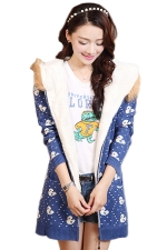 Blue Oversized Ladies Duck Printed Fur Hooded Lined Sweater Coat