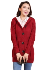 Ruby Pretty Ladies Hooded Plain Winter Lined Warm Sweater Coat