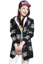 Black Cute Womens Hooded Tiger Pattern Lined Long Sweater Coat