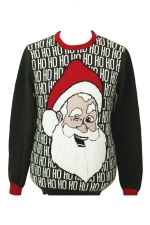 Green Cute Ladies Crew Neck Pullover Santa Ugly Christmas Sweater