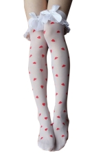White Cute Ladies Bow Heart Printed Velvet Lace Long Stockings