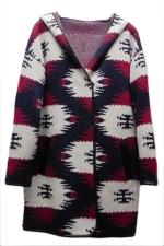 Ruby Pretty Ladies Printed Hooded Loose Long Sleeve Sweater Coat