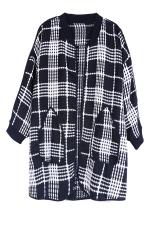 Black Womens Plaid Color Block Crew Neck Cardigan Sweater Coat
