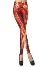 Red Sexy Womens Tights Skeleton Printed Leggings