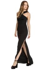 Black Trendy Womens Halter Slit Sleeveless Evening Dress