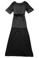 Black Womens See Through Patchwork Fishtail Maxi Evening Dress
