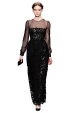 Black Sexy Ladies Long Sleeve See Through Maxi Evening Dress