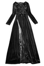 Black Charming Womens Velvet Maxi Split Evening Dress