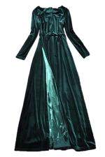 Green Charming Womens Velvet Maxi Split Evening Dress