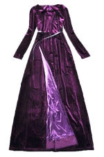 Purple Charming Womens Velvet Maxi Split Evening Dress
