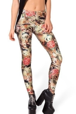 Brown Stylish Womens Sliming Printed Floral Leggings