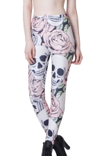 Pink Stylish Womens Rose Skull Printed Skeleton Leggings