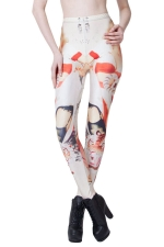 White Cool Ladies Ink Tiger Printed Animal Print Leggings
