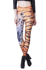 Orange Cool Ladies 3D Tiger Printed Animal Print Leggings