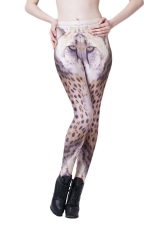 Orange Sexy Womens 3D Leopard Printed Animal Print Leggings