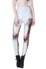 White Ladies Roaring Leopard Printed Animal Print Leggings