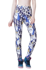 Blue Cute Ladies Cartoon Penguin Printed Animal Print Leggings