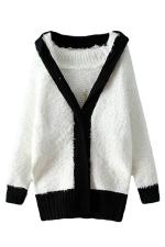 White Cute Ladies Warm Thick Panda Color Block Sweater Coat