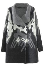 Black Loose Elegant Womens Argyle Pattern Sweater Coat