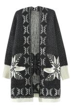 Black Ladies Snowflakes Patterned Mohair Cardigan Sweater Coat