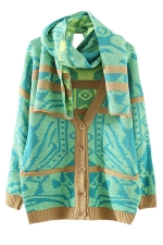 Green Fashion Womens Argyle Thick Cardigan Scarf Sweater Coat
