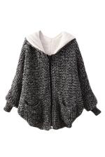 Black Ladies Batwing Sleeve Plain Hooded Knit Sweater Coat